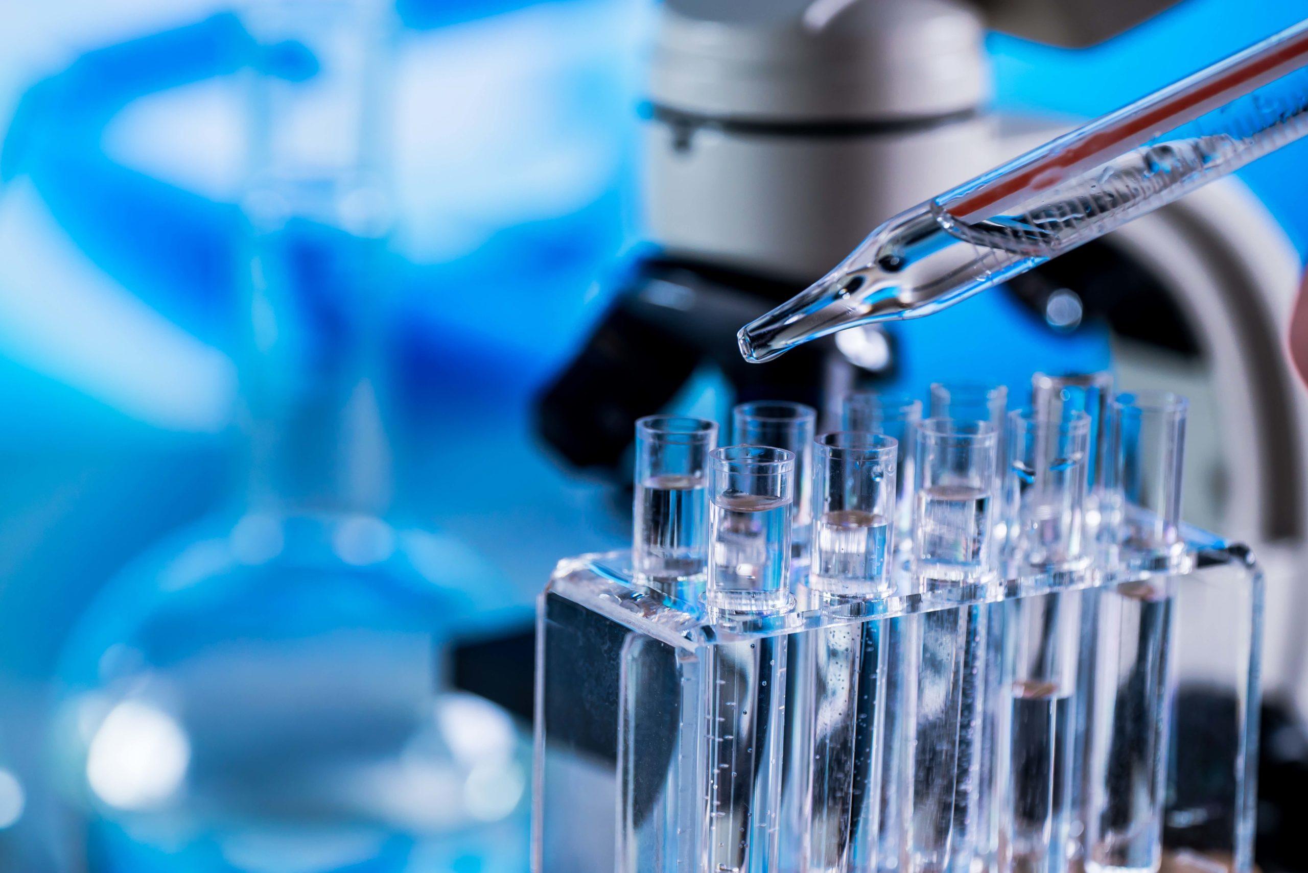 Science laboratory research and development concept. microscope