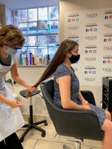 COVID safe haircut with mask